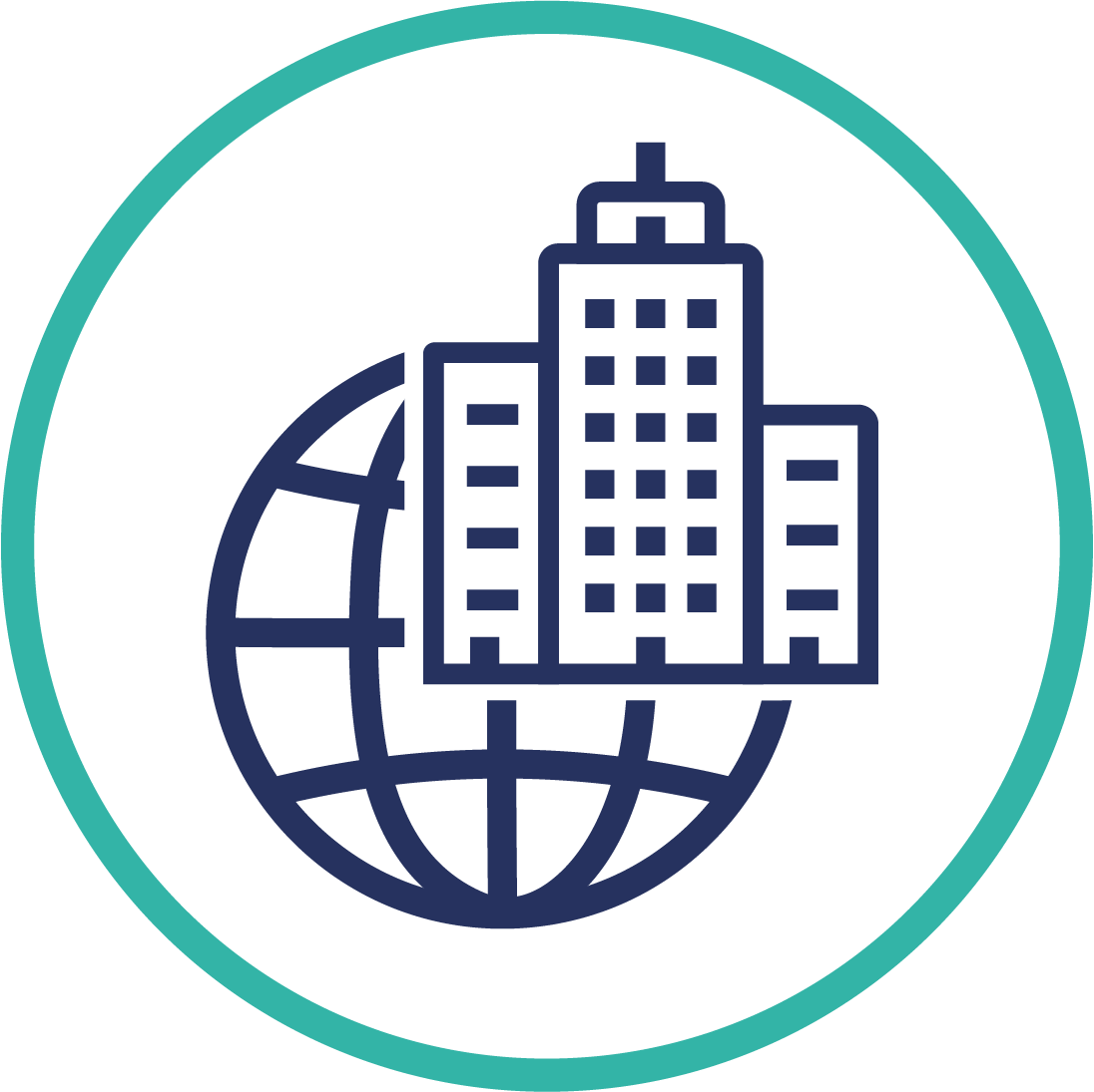 Global hotel industry planet icon