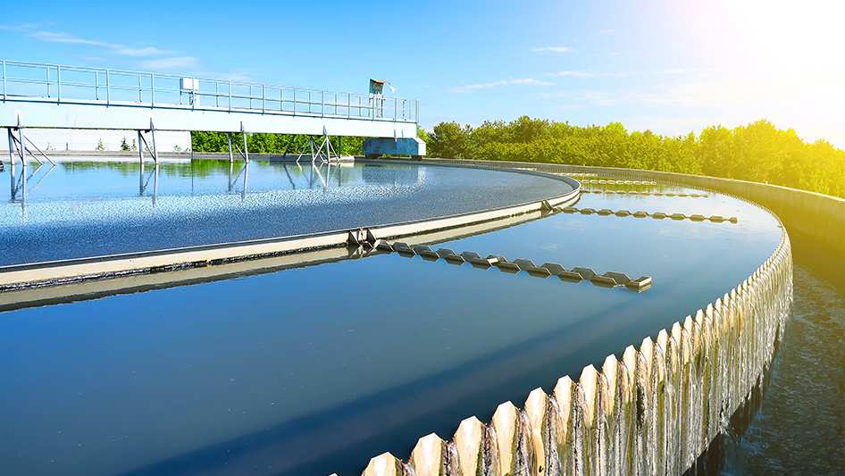 Wastewater treatment plant in a city