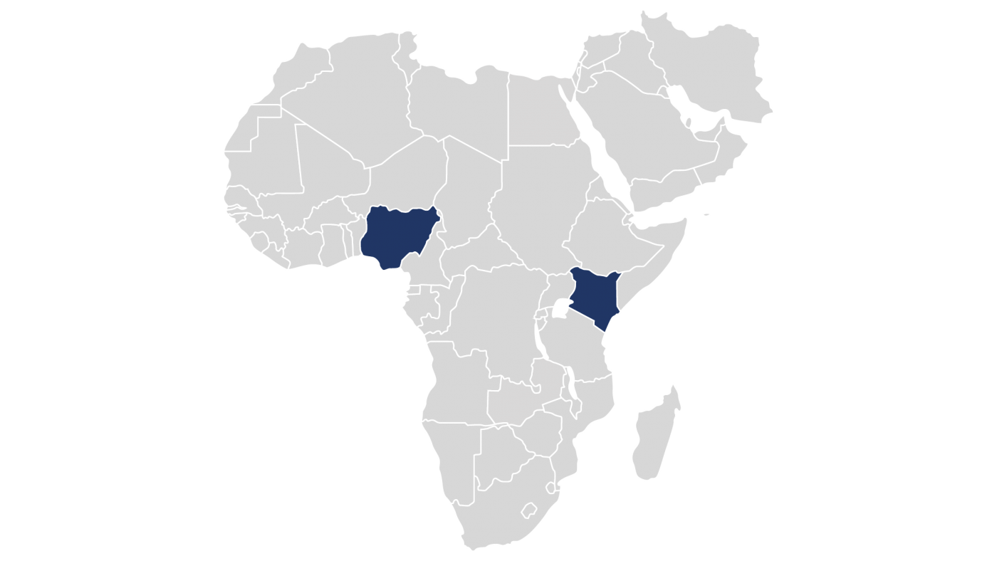 World map highlighting the 2 countries in which Sustainable Hospitality Alliance's Youth Employment programme is operational in Middle East and Africa region.