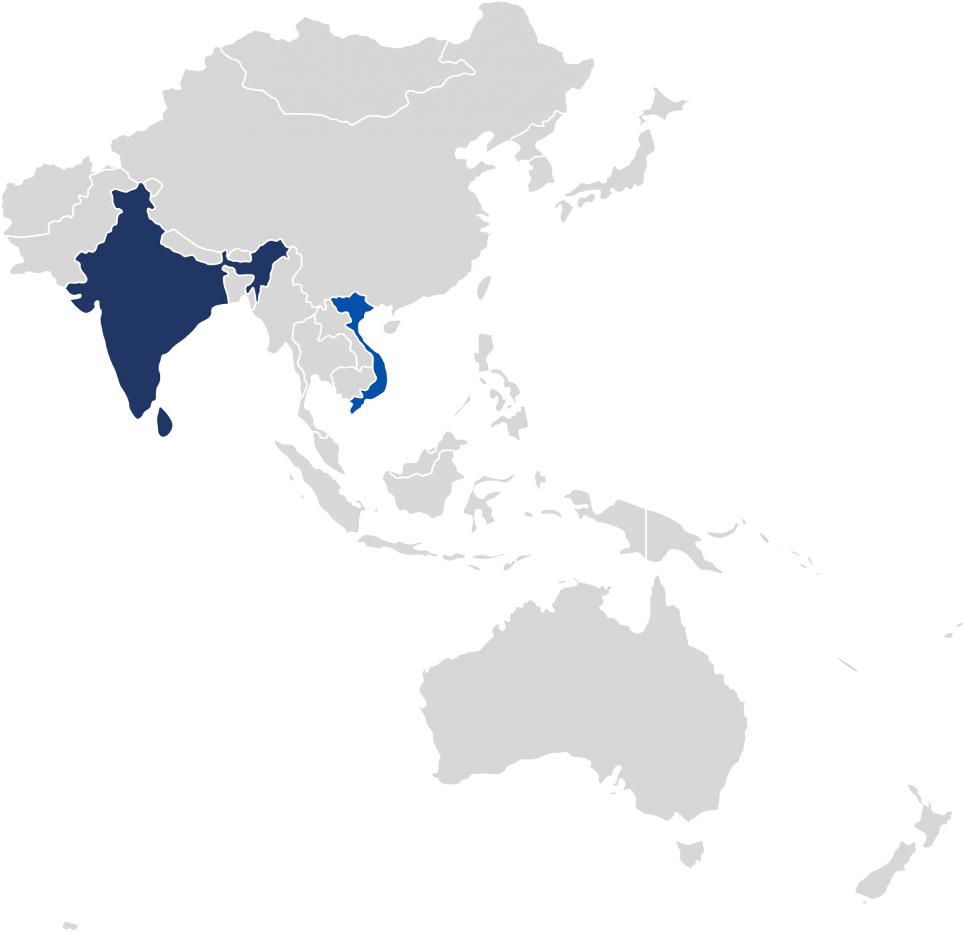 World map highlighting the 2 countries in which our project supporting survivors of human trafficking is operational in the Asia Pacific region.