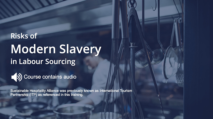 This free online training is designed to support hospitality companies and their human resources, procurement and legal teams, to identify and address the risks of modern slavery in their hotel operations.