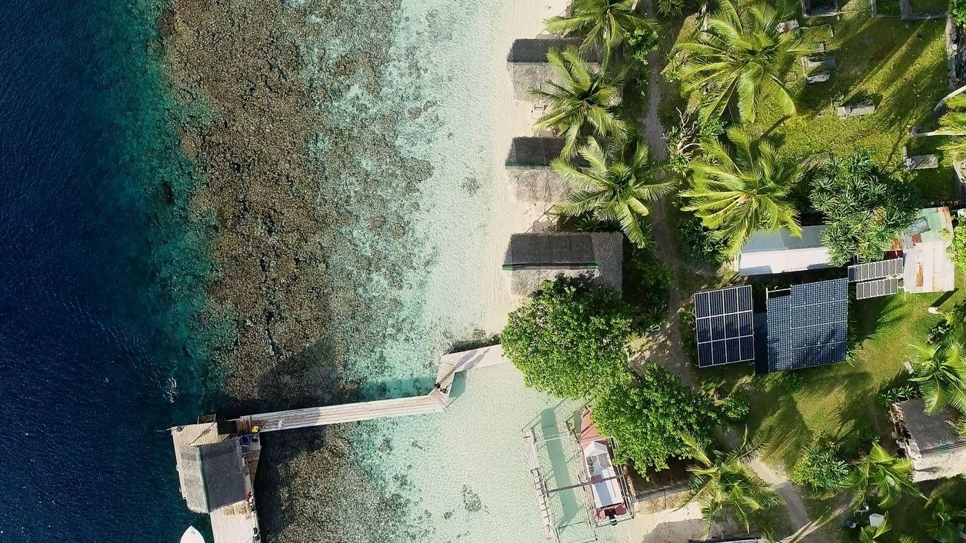 Solar panels on a hotel island