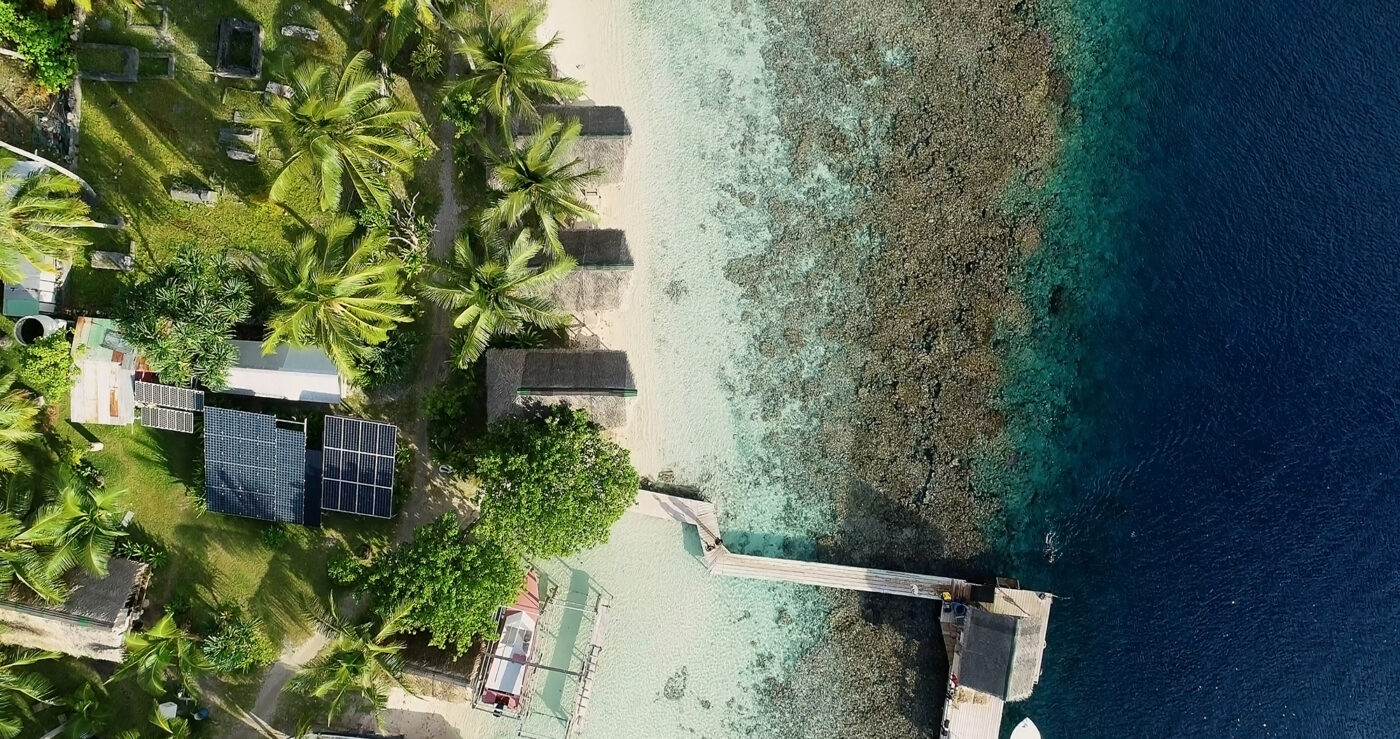 Beach hotel with solar panels