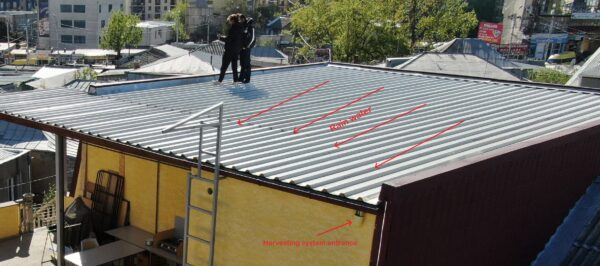 Hotel rooftop showing rainwater harvesting system