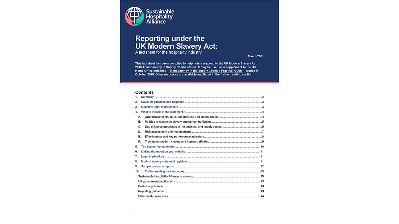 Reporting under the UK Modern Slavery Act cover 2021