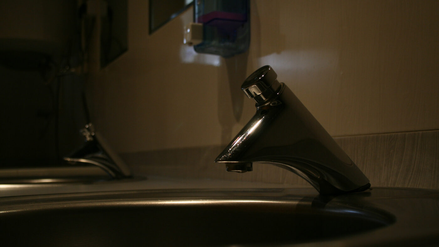 Autostop tap in hotel bathroom