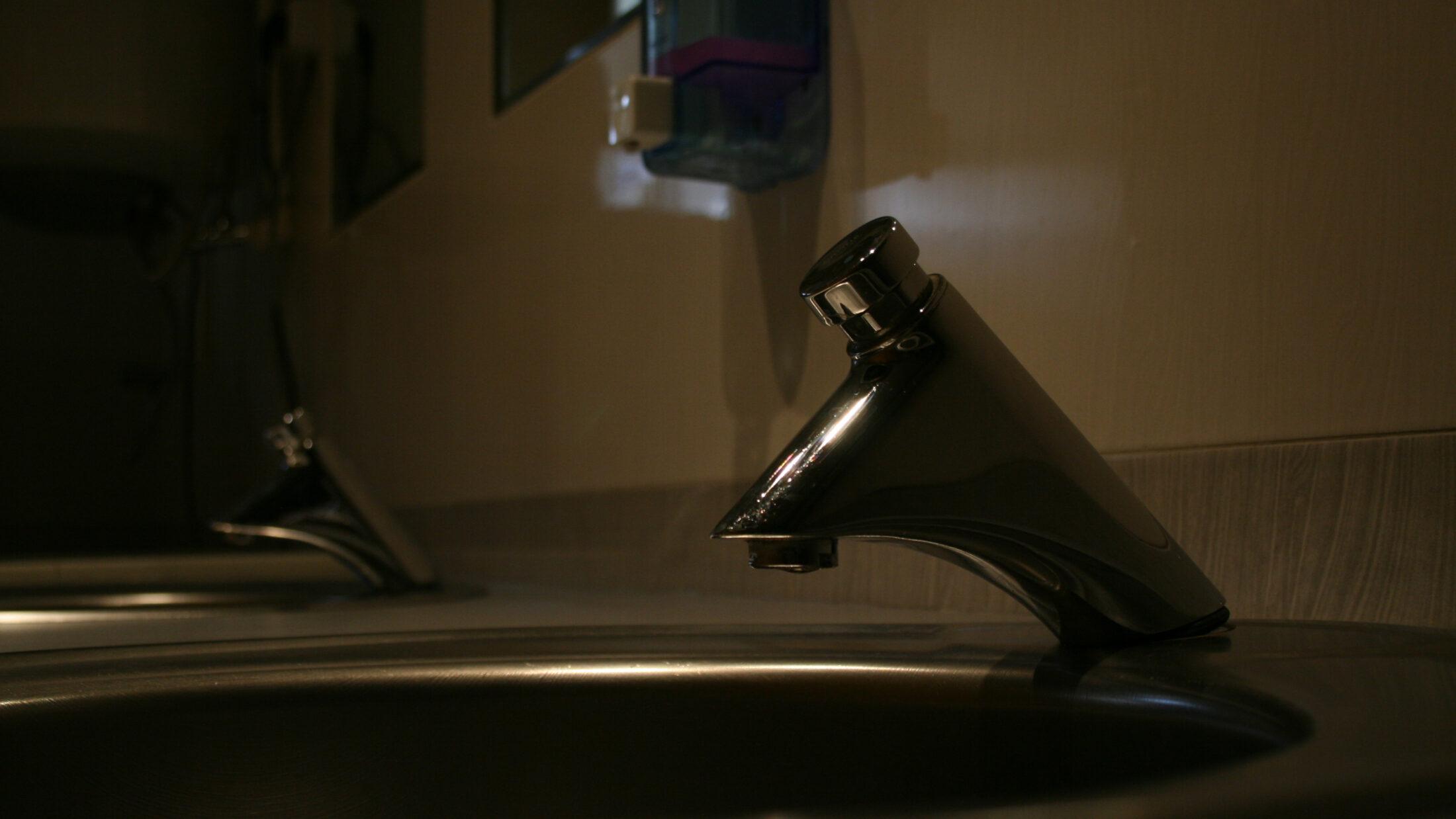 Autostop tap in hotel bathroom