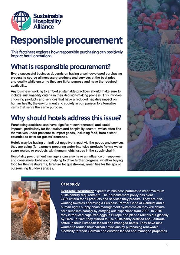 This factsheet explores how responsible purchasing can positively impact hotel operations and includes tips on how to get started