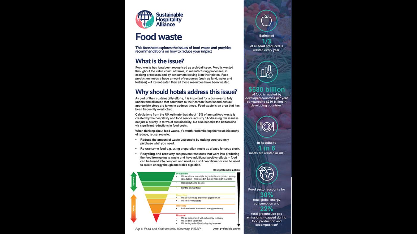 Food waste factsheet Sustainable Hospitality Alliance