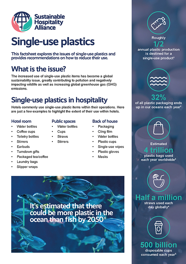 This factsheet explores the issues of single-use plastics and provides recommendations for hotels on how to reduce their use
