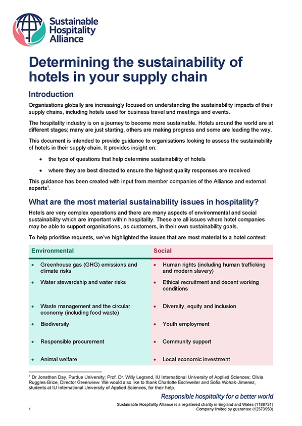 Guidance for organisations looking to assess the sustainability of hotels in their supply chain including questions that help determine sustainability and quality responses